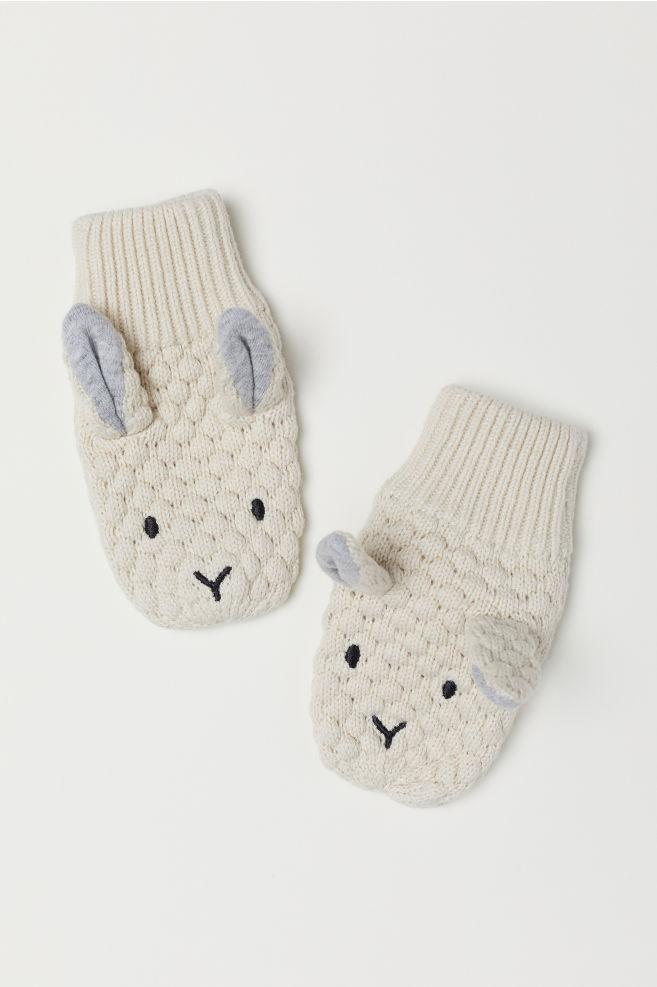 Textured-knit Mittens - Natural white - Kids | H&M US
