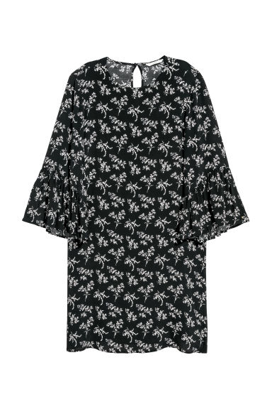 Flounce-sleeved dress - Black/White patterned - Ladies | H&M CN