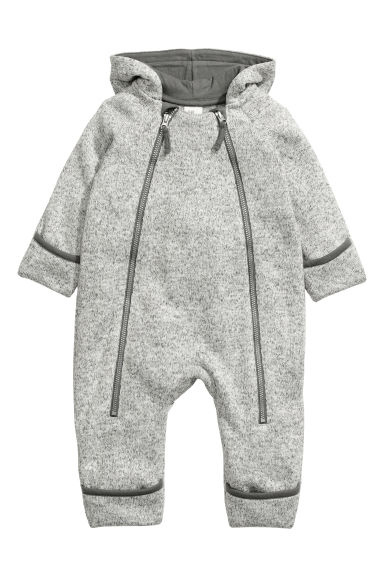 Fleece all-in-one suit - Light grey -  | H&M