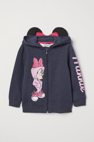 Hooded jacket with appliqués - Dark blue/Minnie Mouse - Kids | H&M GB