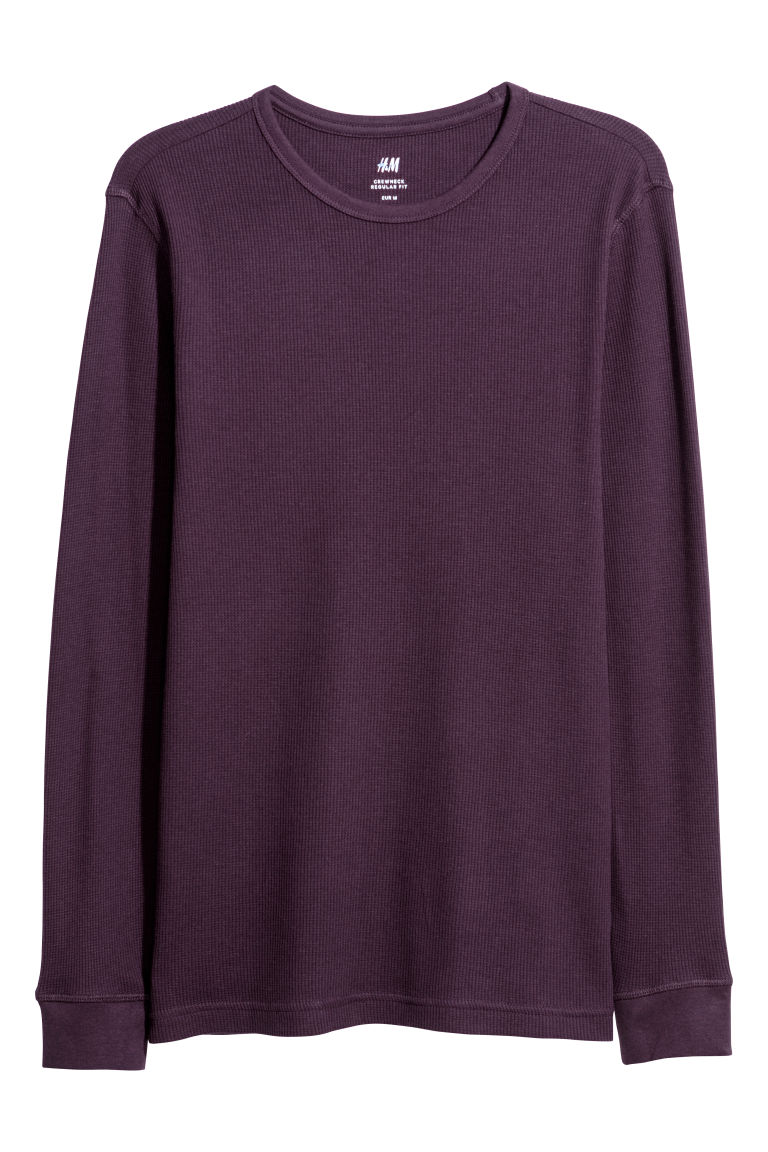 Waffled top - Dark purple - Men | H&M