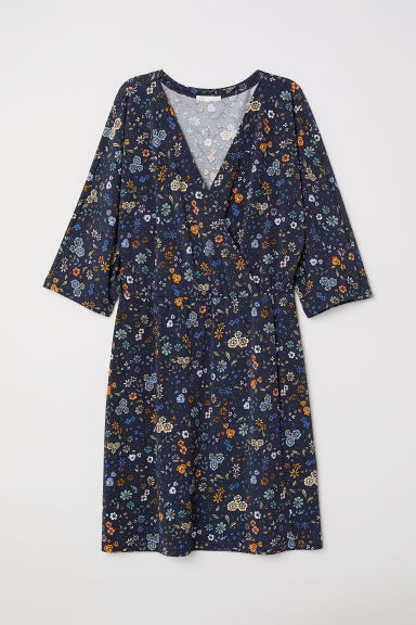 Jersey wrap dress - Dark blue/Floral -  | H&M