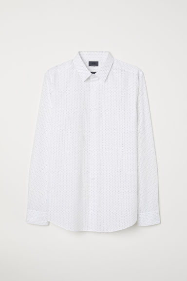 Premium cotton shirt - White/Black spotted - Men | H&M