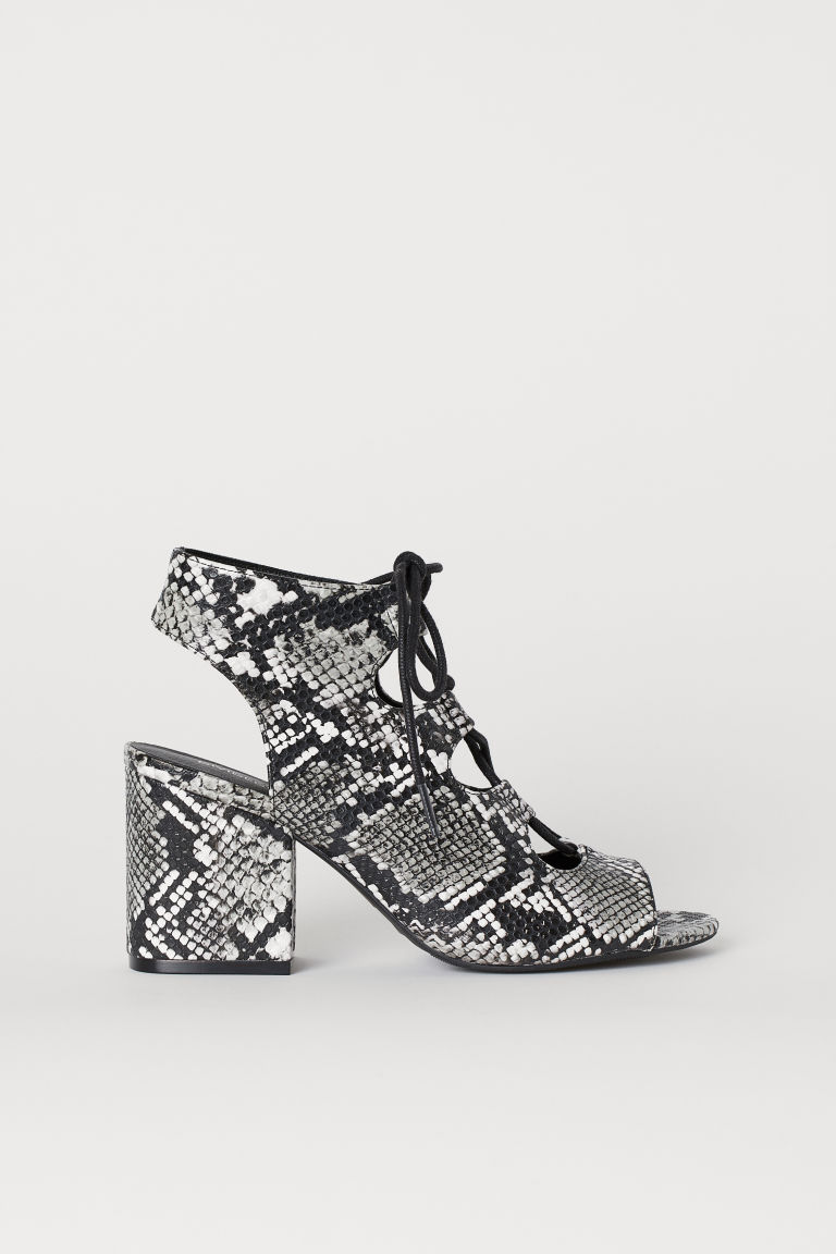 Sandals with lacing - Grey/Snakeskin-patterned -  | H&M