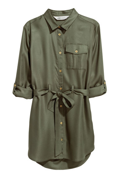 Shirt dress - Khaki green/Stars - Kids | H&M