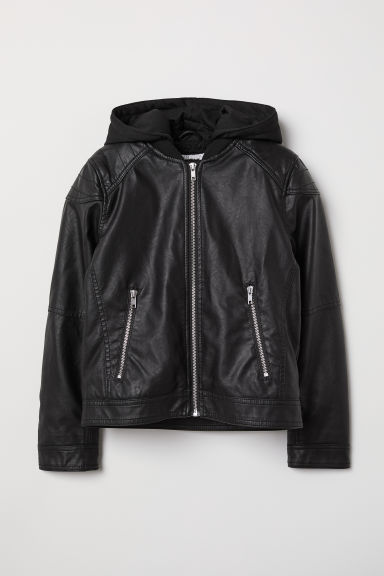 Pile-lined biker jacket - Black - Kids | H&M CN
