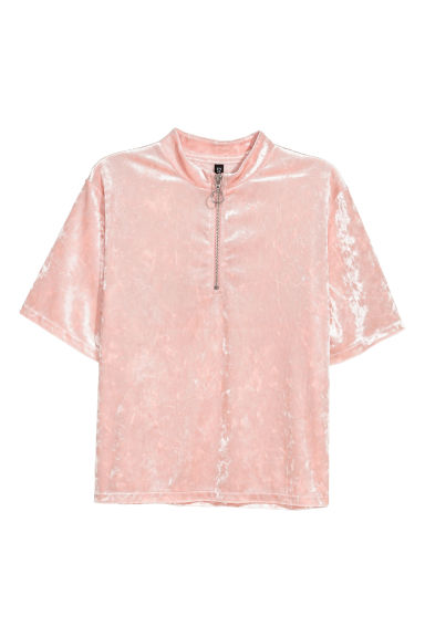 Crushed velvet top - Light pink -  | H&M