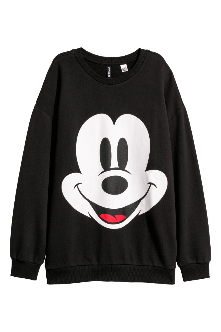 Printed sweatshirt - Black/Mickey Mouse - Ladies | H&M