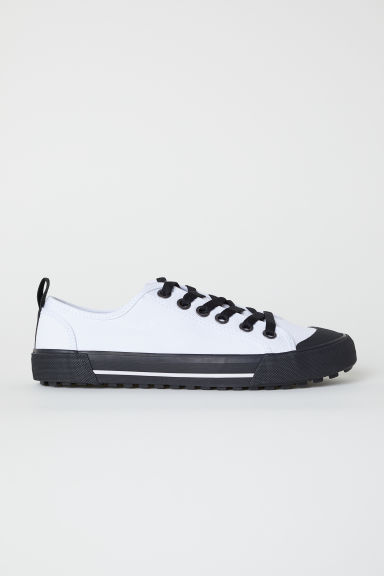 Sneakers van katoencanvas - Wit/zwart - HEREN | H&M BE