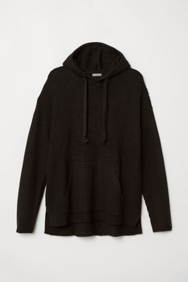Textured-knit hooded jumper - Black - Men | H&M CN