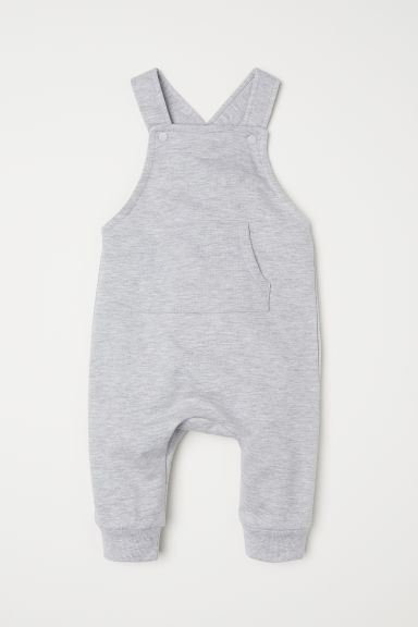 Cotton dungarees - Light grey marl - Kids | H&M