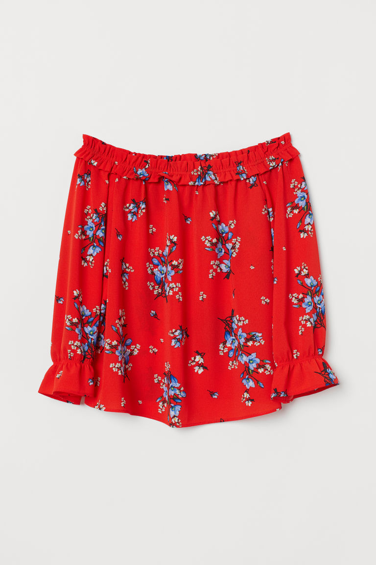 Off-the-shoulder Blouse - Red/floral -  | H&M US