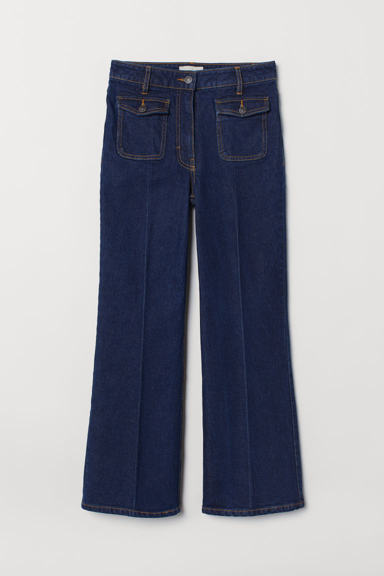 High Cropped Flared Jeans - 深牛仔蓝 - 女 | H&M CN