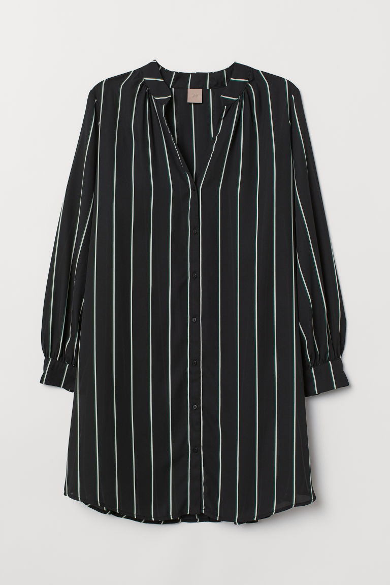 H&M+ V-neck tunic - Black/Striped - Ladies | H&M