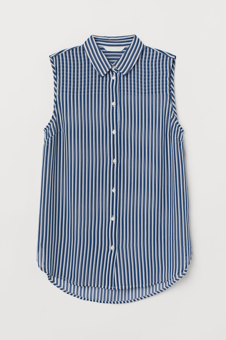 Sleeveless blouse - Blue/White striped - Ladies | H&M IN