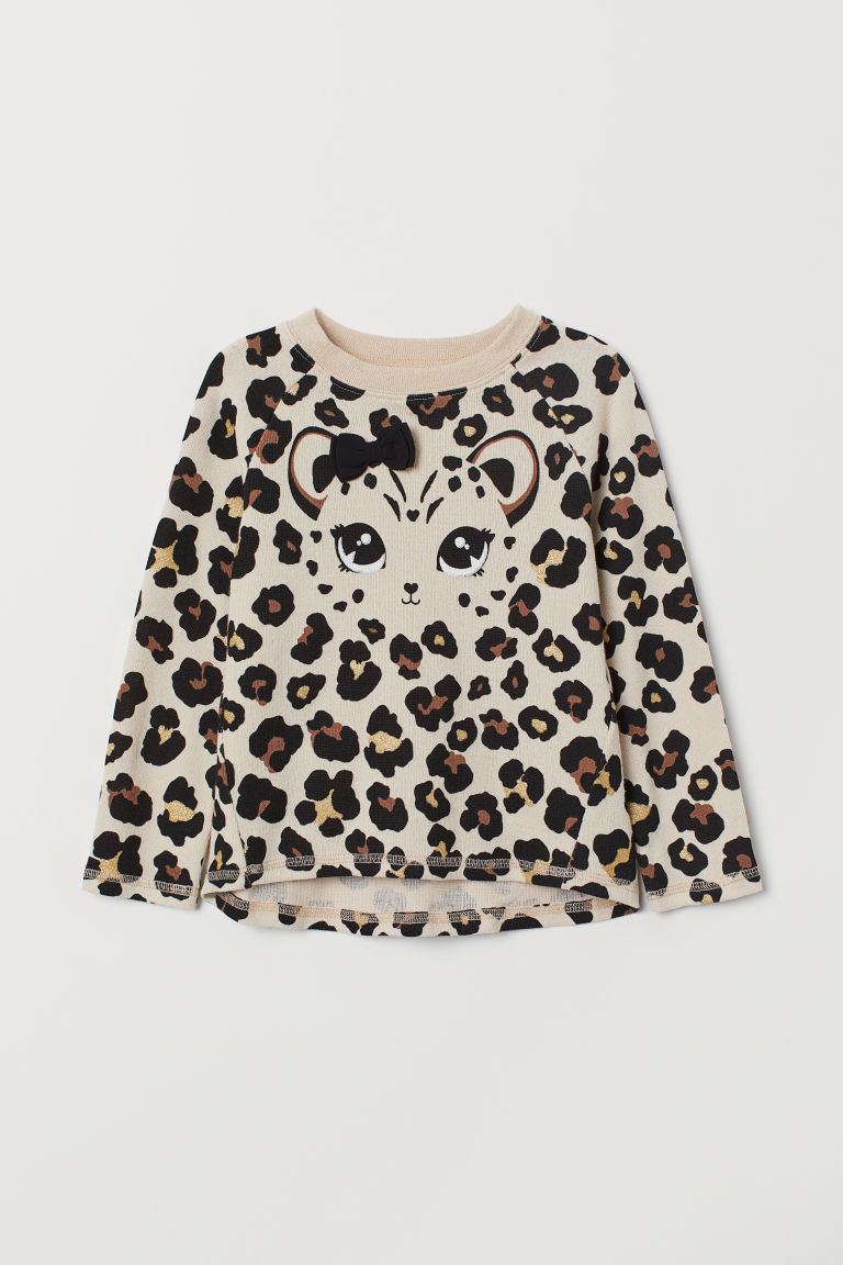 Leopard-print top - Light beige/Leopard print - Kids | H&M CN
