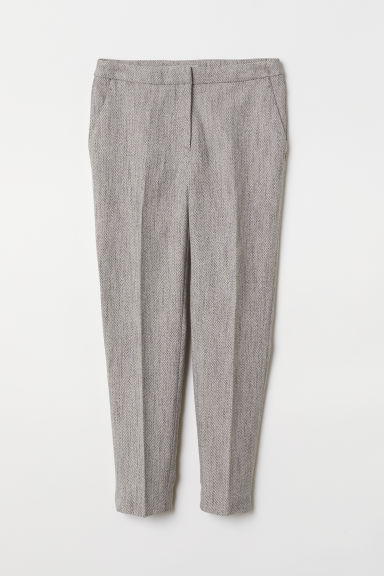 Tailored trousers - Light grey/Patterned - Ladies | H&M CN