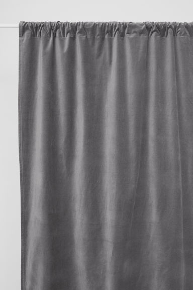 Velvet curtain length - Grey - Home All | H&M GB