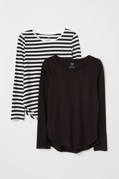 2-pack tops - Black/White striped - Kids | H&M
