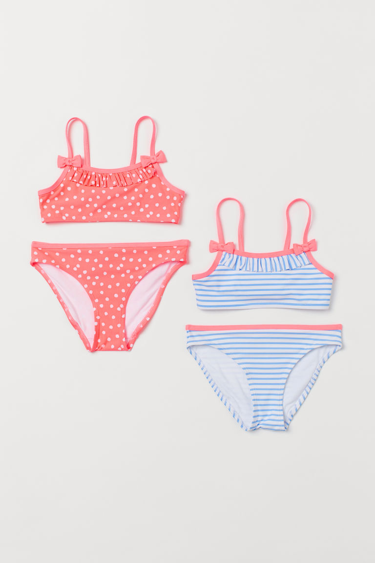 2-pack bikinis - Neon pink/White spotted - Kids | H&M
