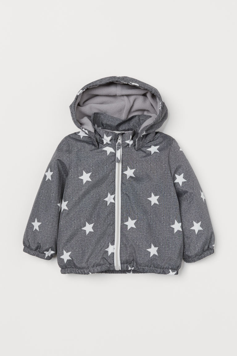 Fleece-lined jacket - Grey/Stars - Kids | H&M