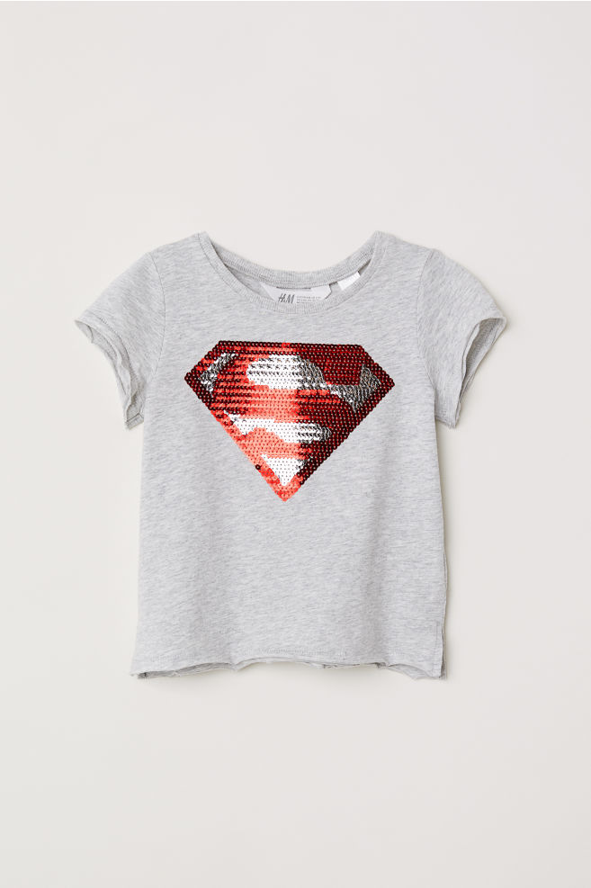 65cc6df1d Top with reversible sequins - Grey marl/Supergirl - Kids | H&M ...