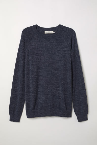 Cotton raglan-sleeved jumper - Dark blue marl - Men | H&M