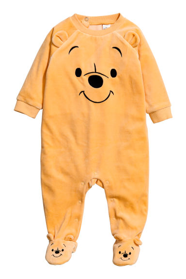 Velour all-in-one suit - Yellow/Winnie the Pooh -  | H&M CN