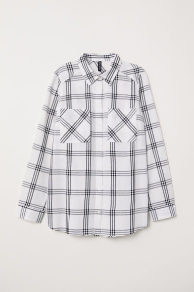 Checked shirt - White/Black checked - Ladies | H&M GB