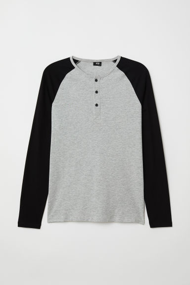 Top - Muscle fit - Grijs gemêleerd/zwart - HEREN | H&M BE