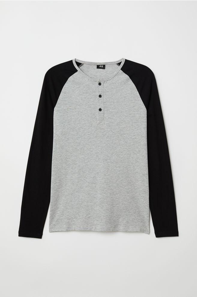 d9577b155 Muscle Fit Long-sleeved Shirt - Gray melange black - Men
