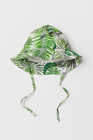 Patterned Sun Hat with Ties