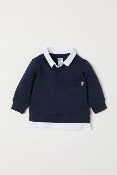 Top with a shirt collar - Dark blue - Kids | H&M