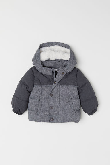 Padded jacket - Dark grey marl - Kids | H&M CN