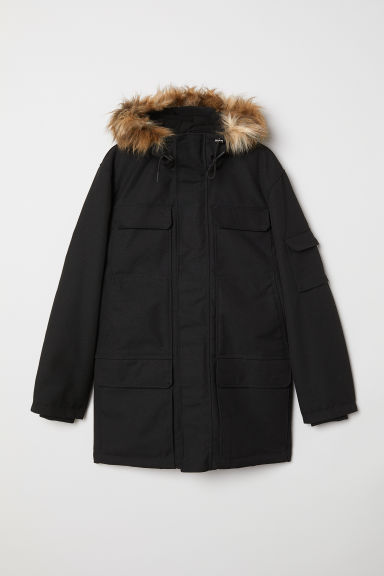 Warm-lined parka - Black - Men | H&M IN