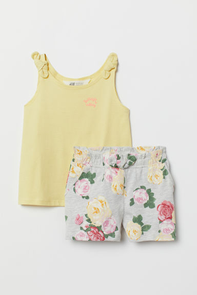 Vest top and shorts - Light yellow/Grey marl - Kids | H&M CN