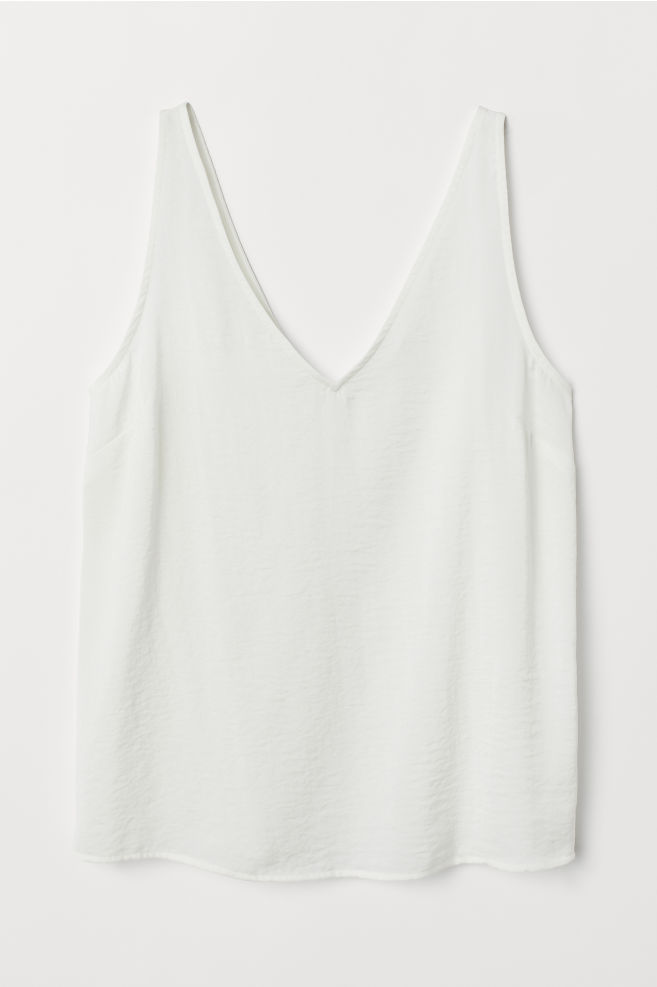 11d7e4701c ... V-neck satin vest top - White - Ladies | H&M ...