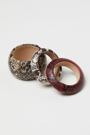 3-pack bracelets - White/Snakeskin-patterned - Ladies | H&M CN