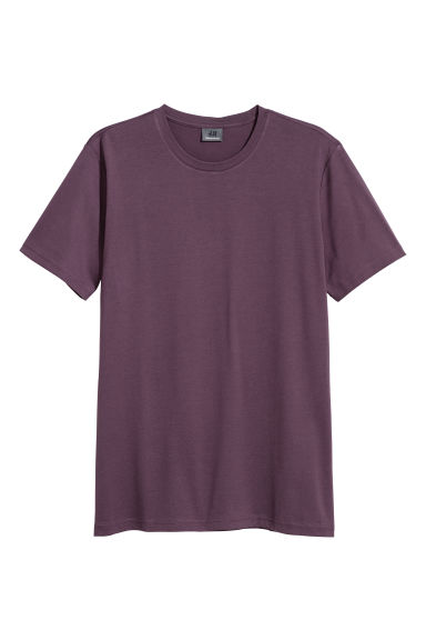 Premium cotton T-shirt - Dark purple - Men | H&M