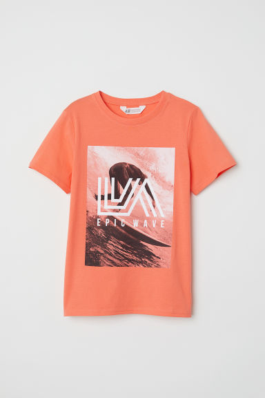 T-shirt met print - Oranje/Epic Wave - KINDEREN | H&M BE