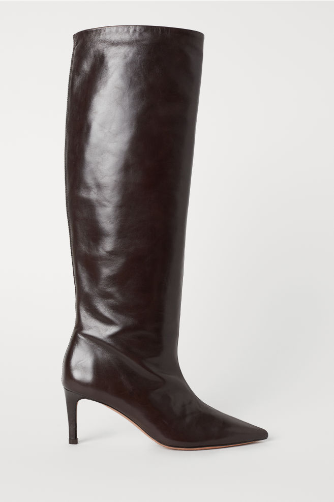 7409d0162c61a Knee-high Leather Boots - Dark brown - Ladies | H&M ...