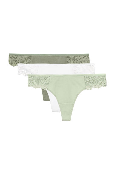 3-pack Brazilian briefs - Dusky green/White - Ladies | H&M CN