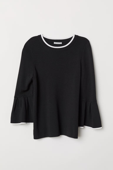 Flounce-sleeved Sweater - Black/white - Ladies | H&M US