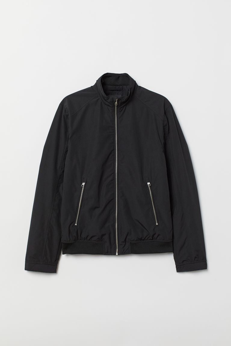 Jacket with a stand-up collar - Black - Men | H&M CN