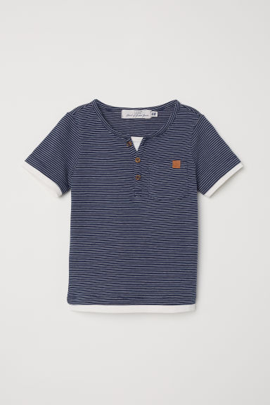 Cotton T-shirt - Dark blue/Striped -  | H&M CN