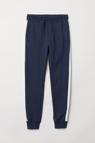 Joggers with side stripes - Dark blue/White - Men | H&M CN