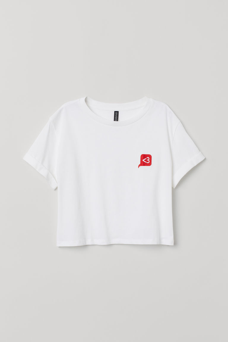 Short T-shirt - White -  | H&M