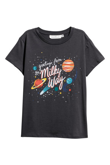 Printed T-shirt - Dark grey - Ladies | H&M CN