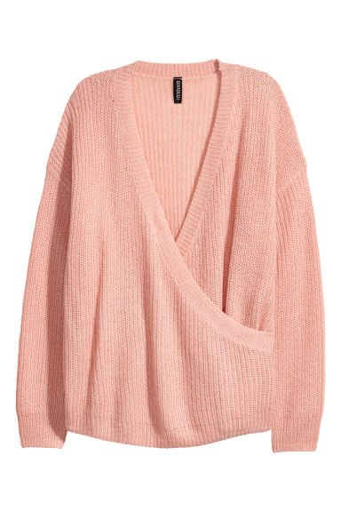 Knitted wrapover jumper - Old rose -  | H&M