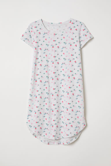 Jersey nightdress - Grey marl/Hearts - Kids | H&M